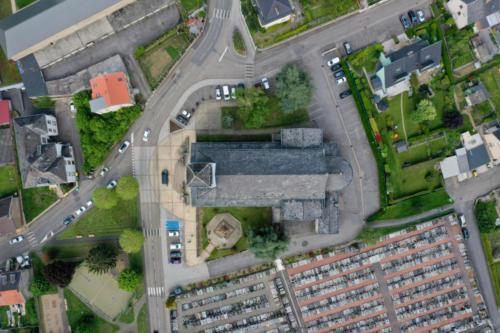 Vue du ciel drone thermo luxembourg lorraine metz thionville nilvange église